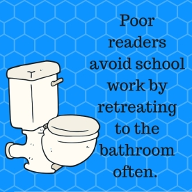 Poor readers often avoid school work by going to the bathroom often, losing hours of class instruction.